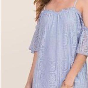 Francesca's powder blue cold shoulder dress